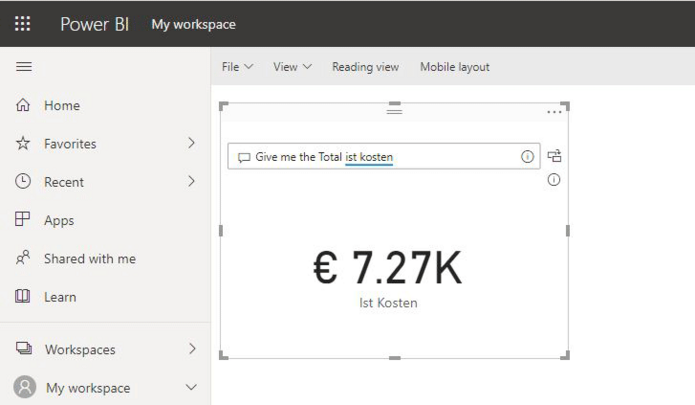 Sprachabfrage Q&A in Power BI