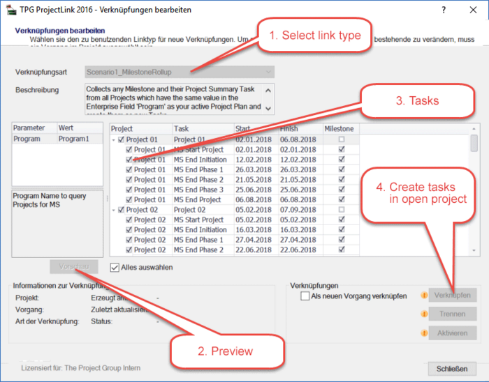 Multi-project overviews using the TaskPicker