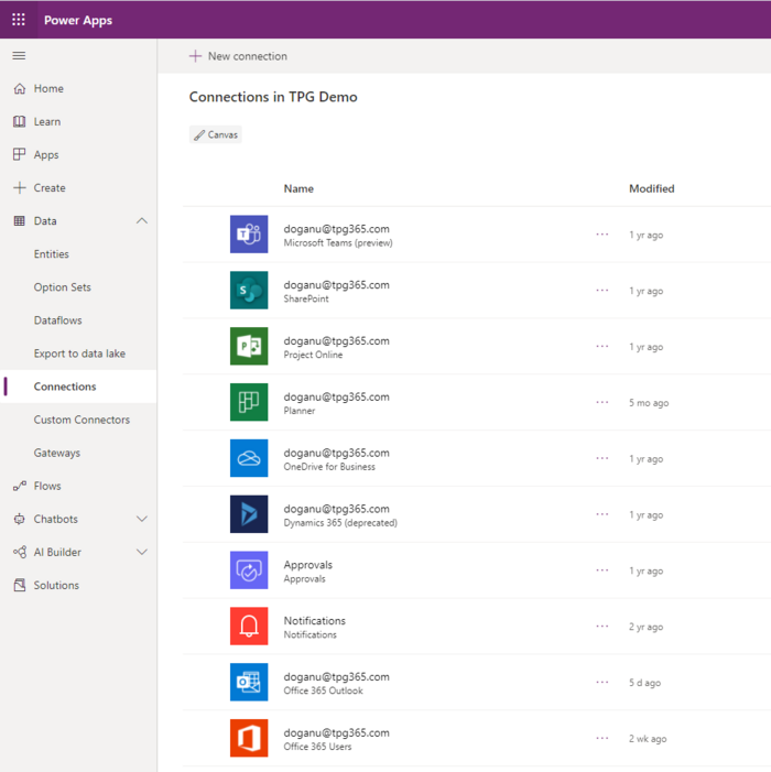MS PowerApps connectors