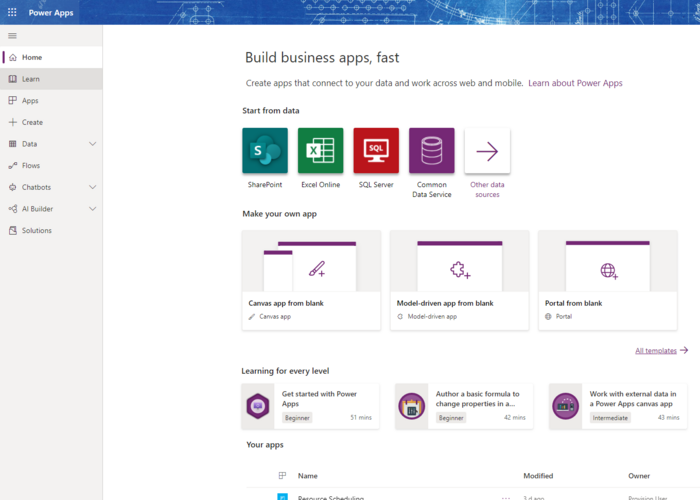 Select Microsoft PowerApps template