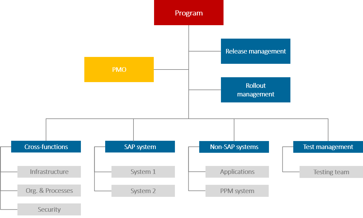 Program Management: Sample work breakdown for an IT program