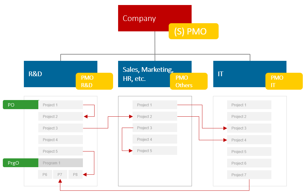 Positioning of a PMO, project office, and program office