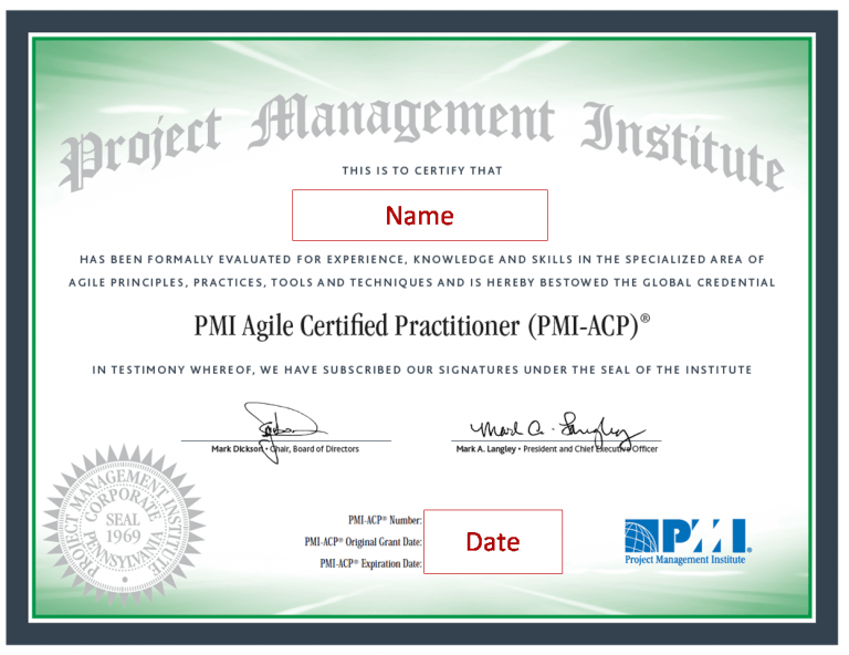 agile project management certifications – PMI-ACP certificate