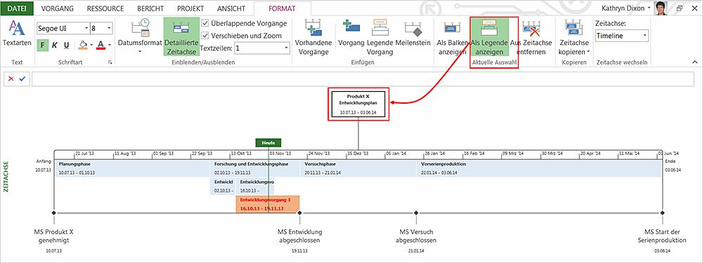 Wie Sie die Zeitachse in MS Project für Status-Reports nutzen