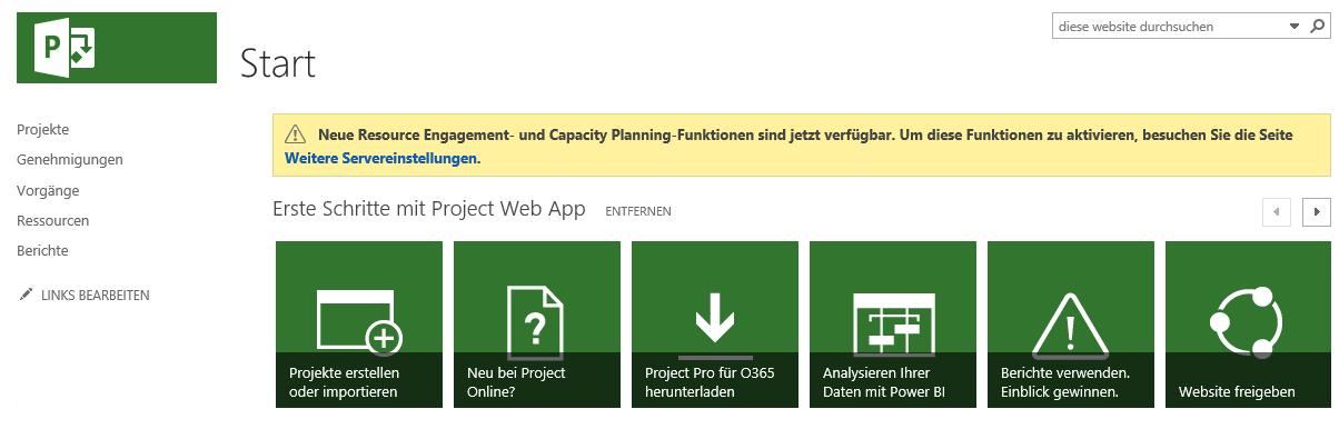 Ressourceneinsätze Project Online - Erste Schritte