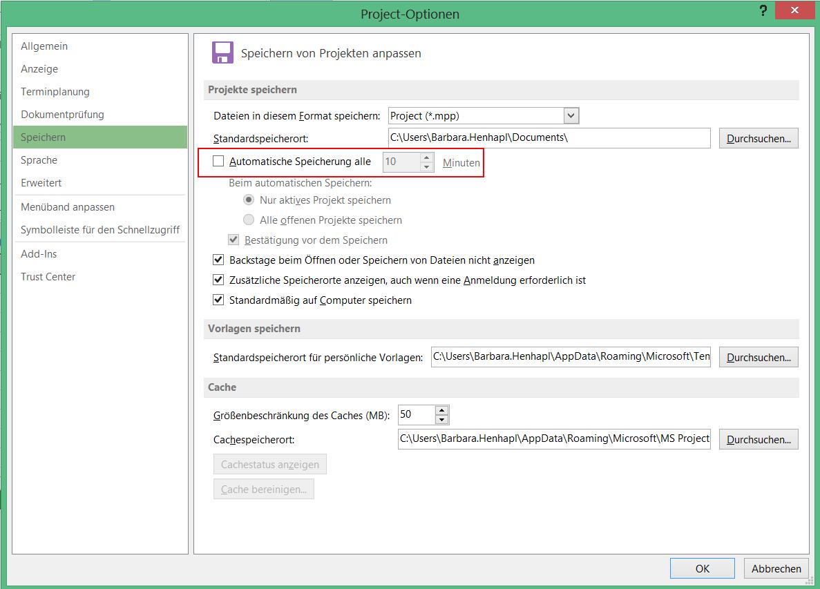 Projektdaten automatisch speichern - unter Projektdaten automatisch speichern 1