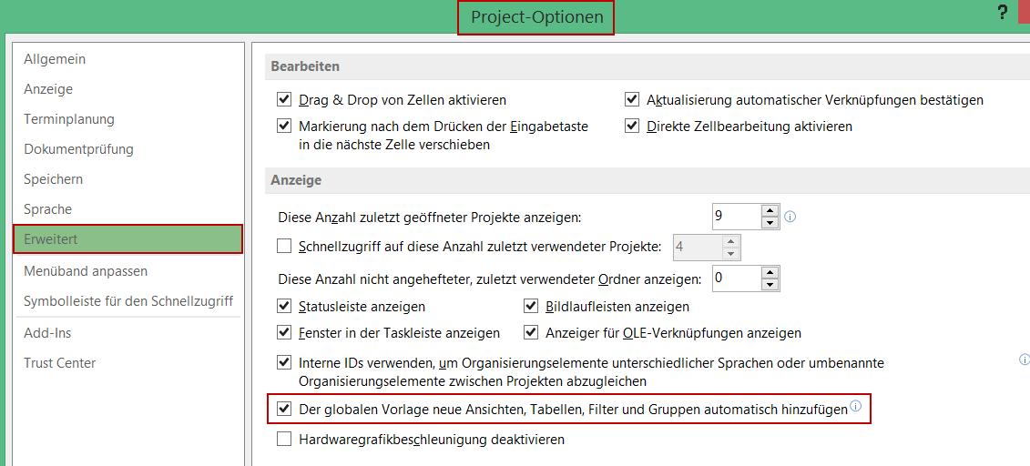 benutzerdefinierte Ansichten übertragen im MS Project Organisator 1