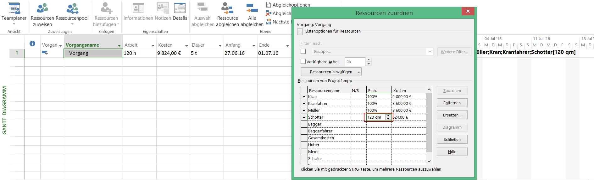 Ressourcenplanung mit Microsoft Project