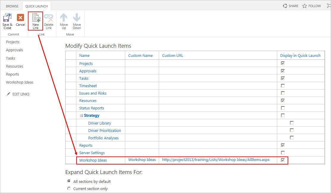 Anpassen der Quick Launch Ansicht in SharePoint
