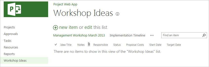 Editieren der Ideenliste beenden