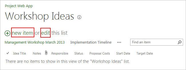 Ideen sammeln in SharePoint Liste