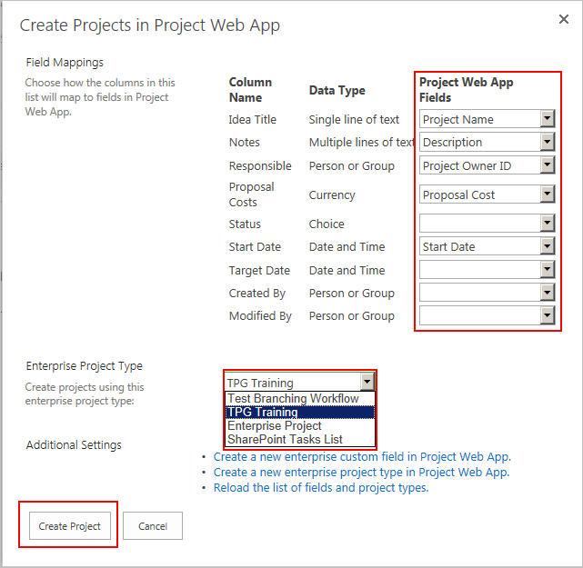 Verknüpfen von Spalten aus SharePoint Liste mit Feldern in der Project Web App