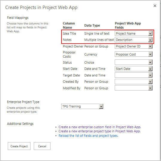 Anlegen benutzerdefinierter Enterprise-Felder in MS Project