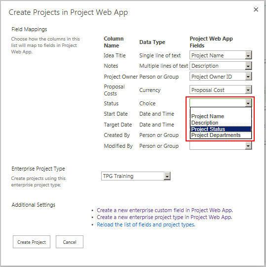 Das neue Drop-Down-Menü in der Project Web App nach Anlegen eines Enterprise-Feldes