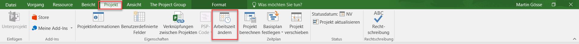 MS Project Kalenderoptionen