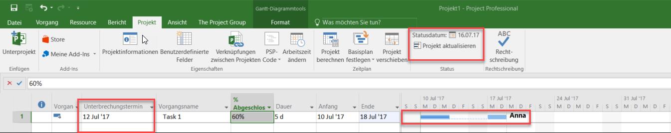 Planungsoptionen in MS Project