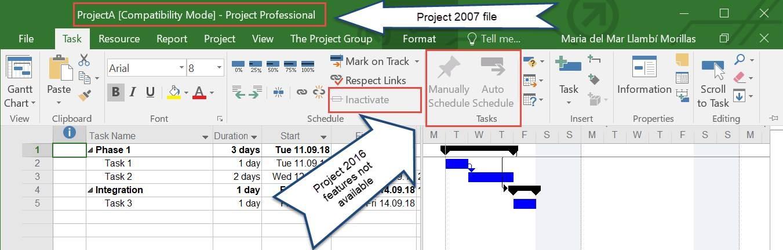 Verschiedene MS Project Versionen 1