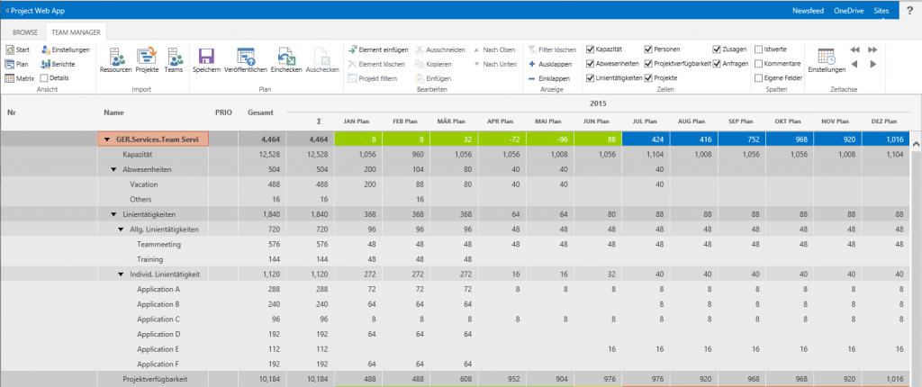 Ressourcenplanung mit SharePoint individuelle Linientätigkeiten