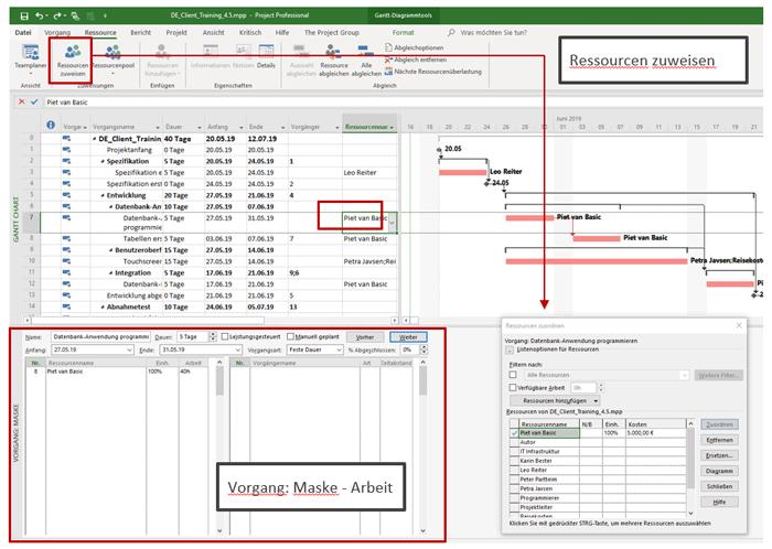 Abbildung: Ressourcen zuweisen - Microsoft Project Projektplan