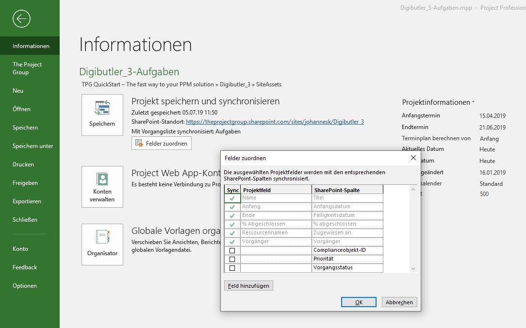 Aufgabenlisten synchronisieren in MS Project und SharePoint_9