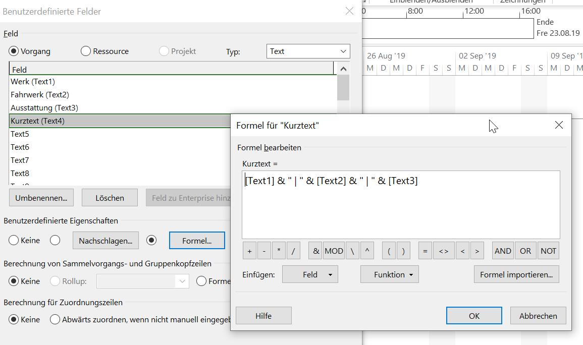 benutzerdefinierte Felder verknüpfen 3 - Kurztext Formel