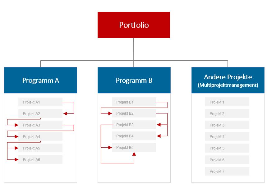 Programmmanagement - Unterscheidung von Projektportfolio-, Multiprojekt- und Programmmanagement