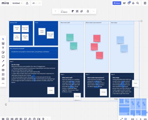 Retrospektiven agiles PM Software Miro