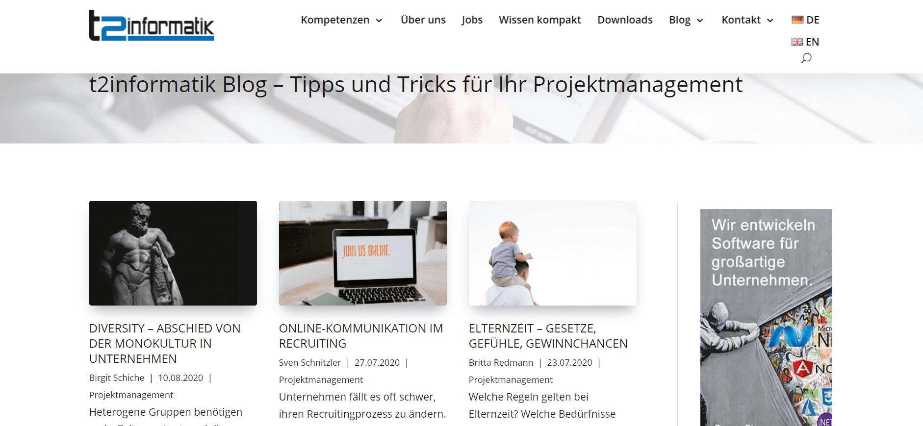 Projektmanagement-Blogs t2informatik-Blog