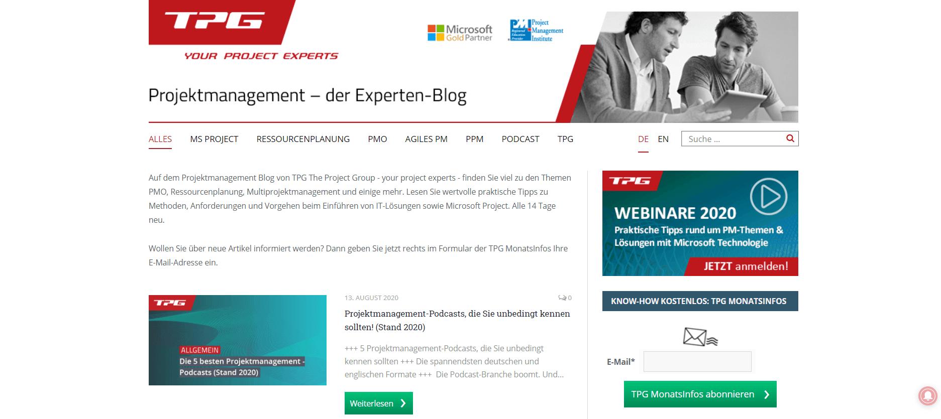 Projektmanagement-Blogs Projektmanagement – Der Experten-Blog