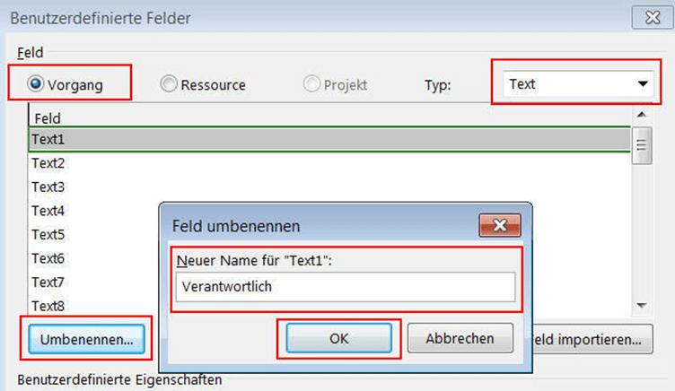 Benutzerdefinierte Felder und Ansichten in Microsoft Project